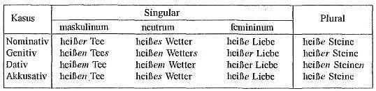 Склонение имен прилагательных по сильному типу